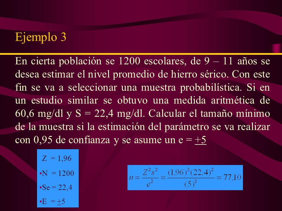 Como se conoce la población usamos el factor de corrección Interpretación El número mínimo necesario de escolares para realizar el estudio es de 39, si se desea estimar el nivel promedio de Hb (hemoglobina) en la población con una precisión de + 0,5.