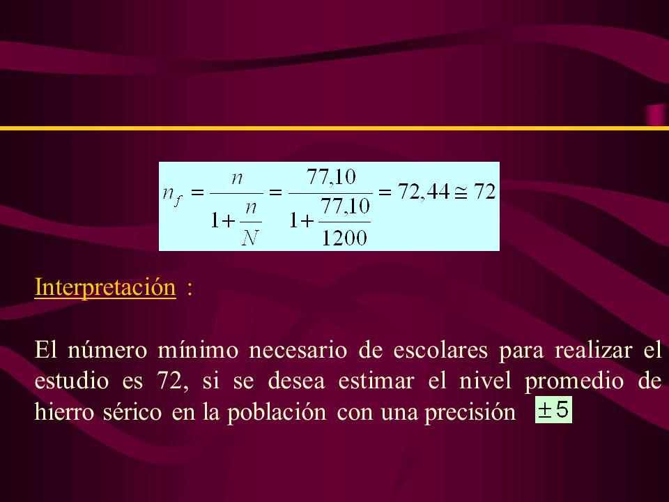 Ejemplo 3 En cierta población se 1200 escolares, de 9 – 11 años se desea estimar el nivel promedio de hierro sérico.