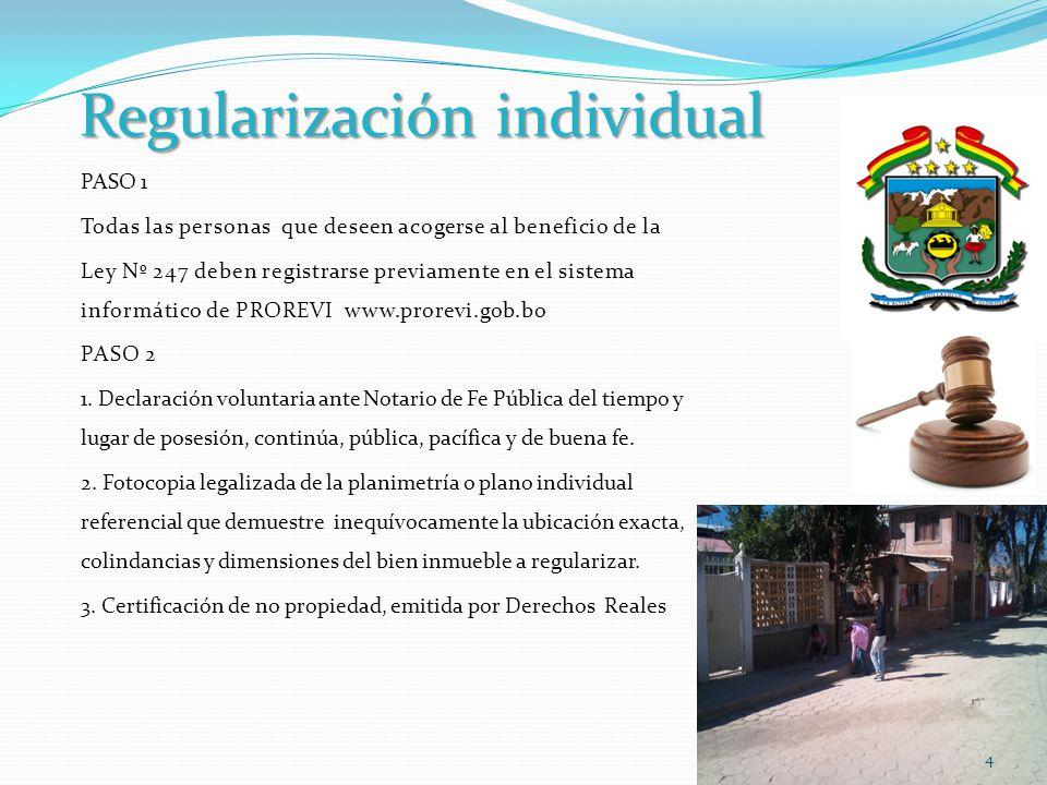 Regularización individual Otros documentos 1.- Declaración testifical de dos testigos.