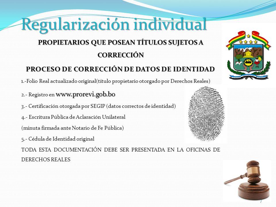 Regularización individual CORRECCIÓN DE DATOS TÉCNICOS.
