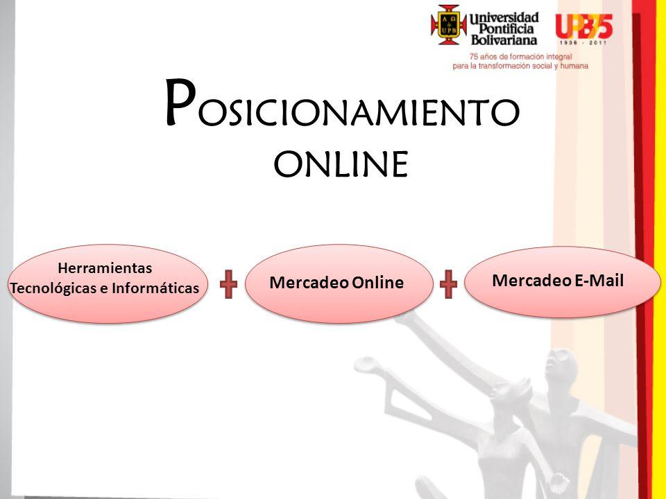 P OSICIONAMIENTO ONLINE Mercadeo E-Mail Mercadeo Online Herramientas Tecnológicas e Informáticas