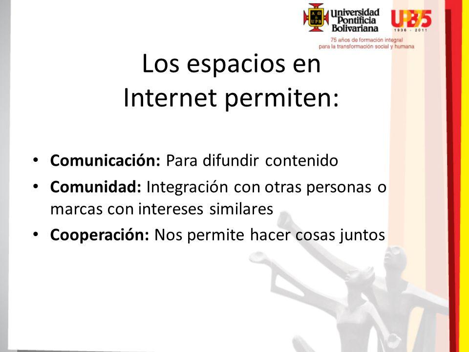 Los espacios en Internet permiten: Comunicación: Para difundir contenido Comunidad: Integración con otras personas o marcas con intereses similares Cooperación: Nos permite hacer cosas juntos