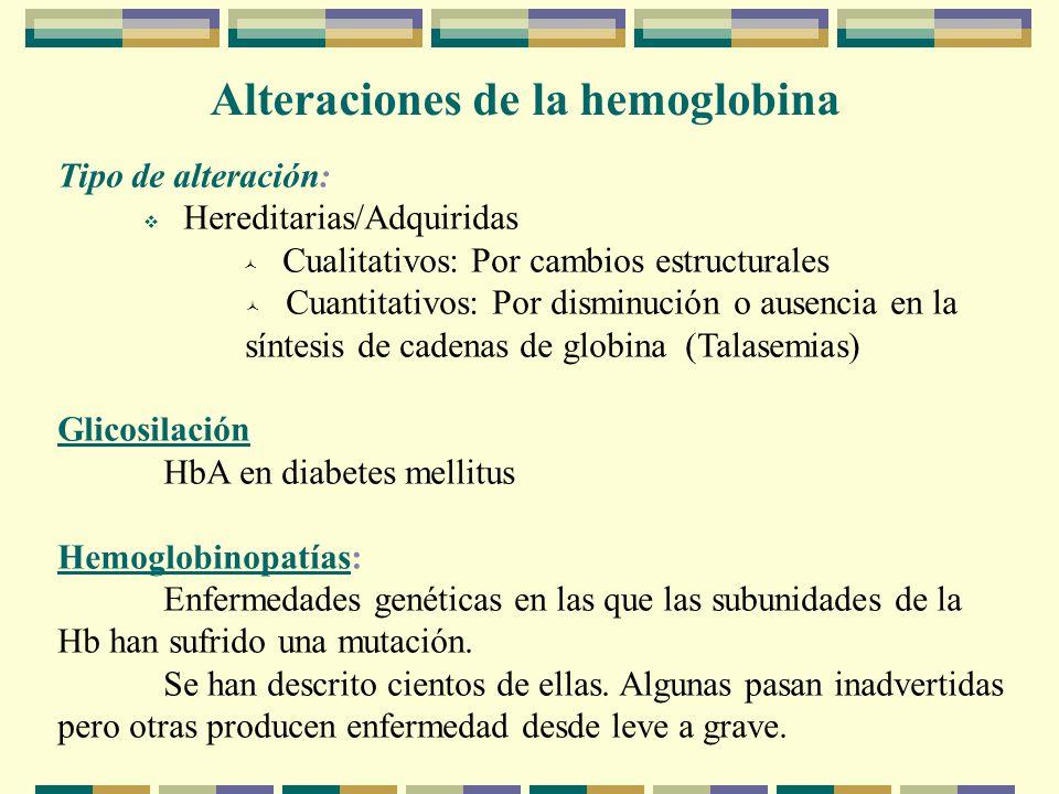 Alteraciones de la hemoglobina Tipo de alteración: Hereditarias/Adquiridas Cualitativos: Por cambios estructurales Cuantitativos: Por disminución o ausencia en la síntesis de cadenas de globina (Talasemias) Glicosilación HbA en diabetes mellitus Hemoglobinopatías: Enfermedades genéticas en las que las subunidades de la Hb han sufrido una mutación.