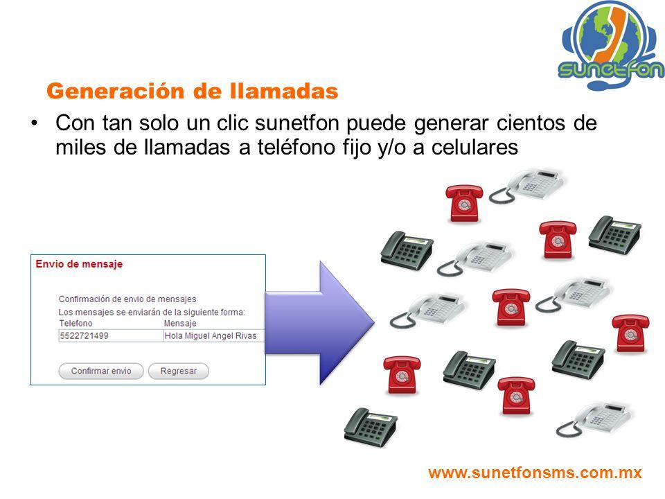 Con tan solo un clic sunetfon puede generar cientos de miles de llamadas a teléfono fijo y/o a celulares Generación de llamadas www.sunetfonsms.com.mx