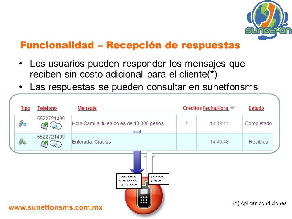 Los usuarios pueden responder los mensajes que reciben sin costo adicional para el cliente(*) Las respuestas se pueden consultar en sunetfonsms Funcio