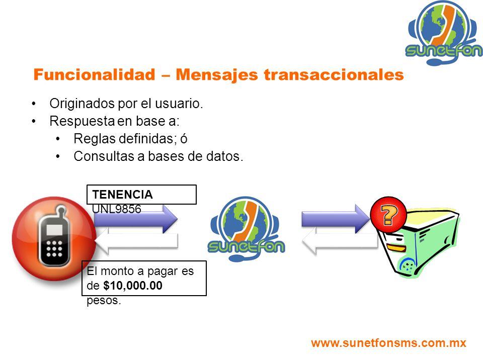 Originados por el usuario. Respuesta en base a: Reglas definidas; ó Consultas a bases de datos. Funcionalidad – Mensajes transaccionales TENENCIA UNL9