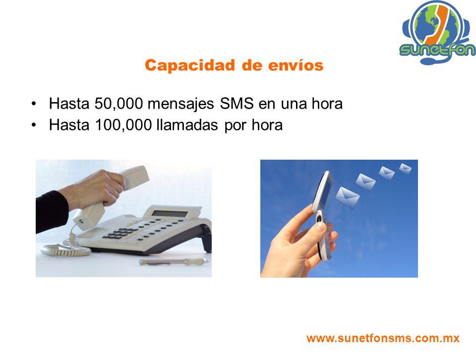 Hasta 50,000 mensajes SMS en una hora Hasta 100,000 llamadas por hora Capacidad de envíos www.sunetfonsms.com.mx