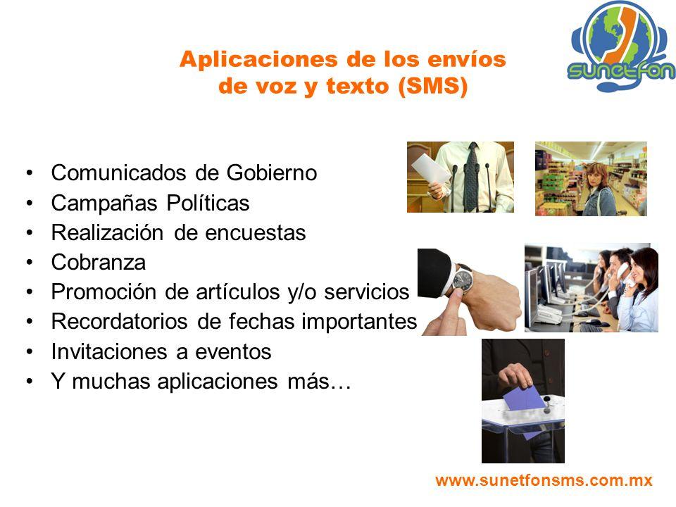 Aplicaciones de los envíos de voz y texto (SMS) www.sunetfonsms.com.mx Comunicados de Gobierno Campañas Políticas Realización de encuestas Cobranza Pr