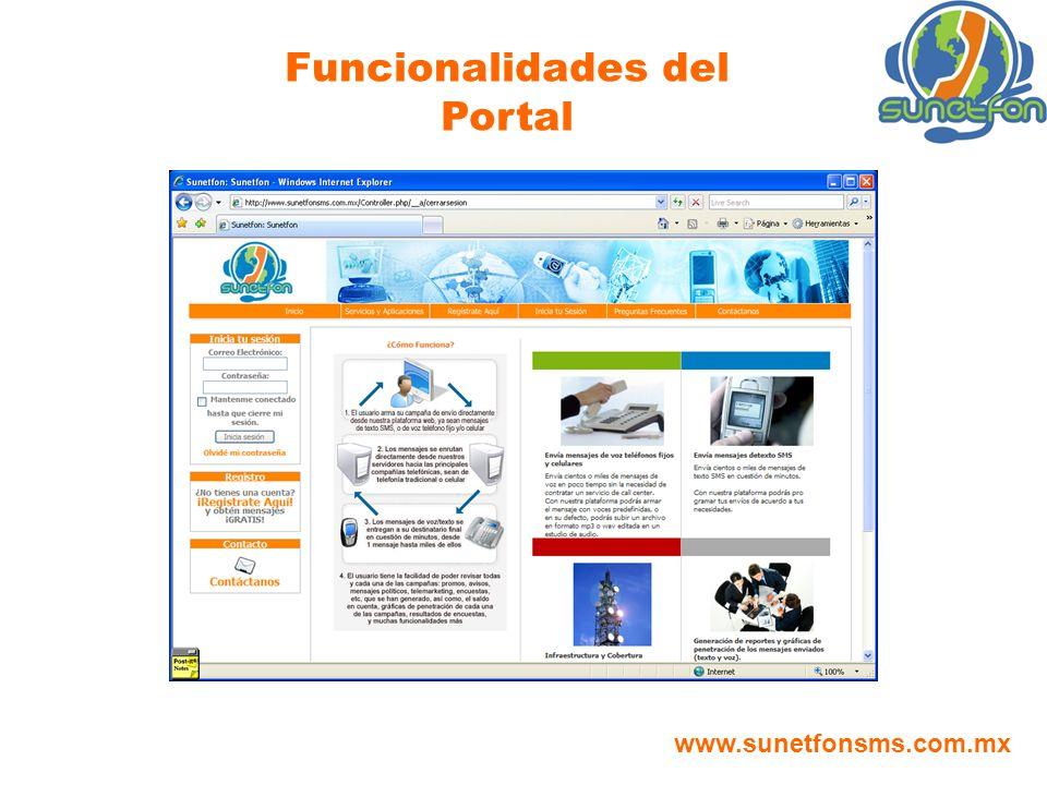 Funcionalidades del Portal www.sunetfonsms.com.mx