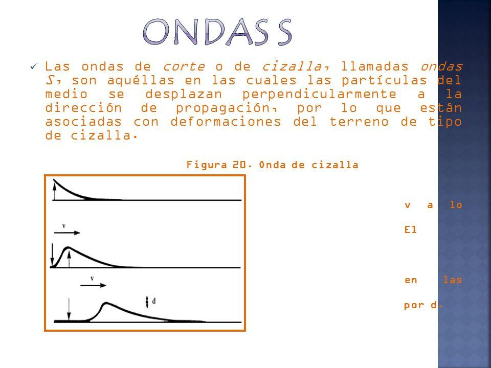 Las ondas de corte o de cizalla, llamadas ondas S, son aquéllas en las cuales las partículas del medio se desplazan perpendicularmente a la dirección de propagación, por lo que están asociadas con deformaciones del terreno de tipo de cizalla.