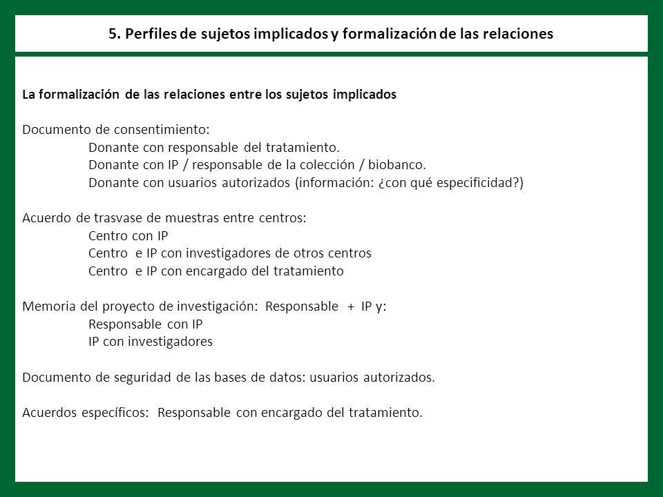 La formalización de las relaciones entre los sujetos implicados Documento de consentimiento: Donante con responsable del tratamiento.