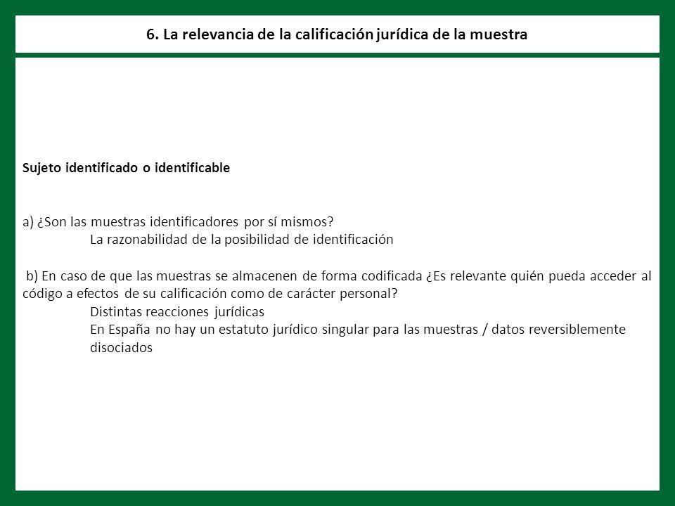 Sujeto identificado o identificable a) ¿Son las muestras identificadores por sí mismos.