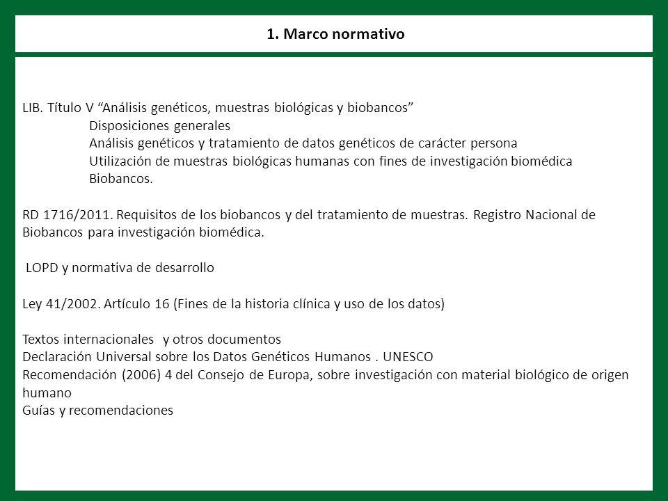 LIB. Título V Análisis genéticos, muestras biológicas y biobancos Disposiciones generales Análisis genéticos y tratamiento de datos genéticos de carác