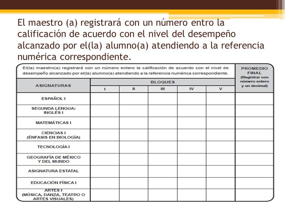 El maestro (a) registrará con un número entro la calificación de acuerdo con el nivel del desempeño alcanzado por el(la) alumno(a) atendiendo a la ref