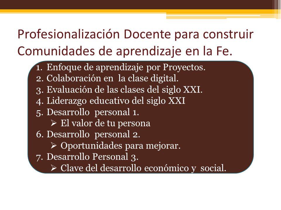 Profesionalización Docente para construir Comunidades de aprendizaje en la Fe. 1.Enfoque de aprendizaje por Proyectos. 2.Colaboración en la clase digi