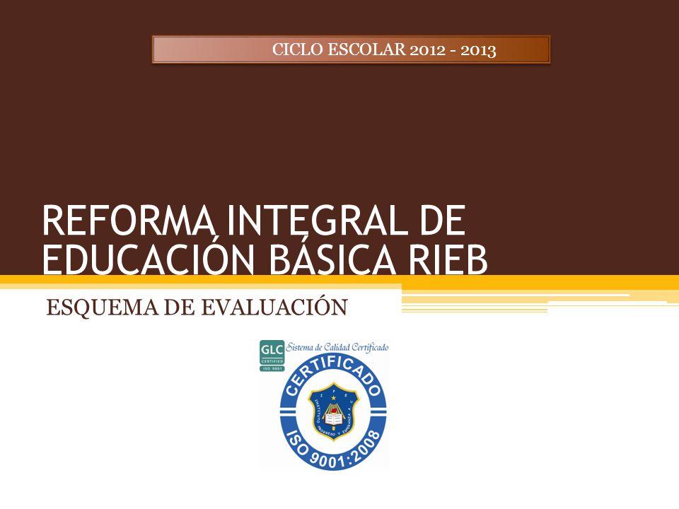 REFORMA INTEGRAL DE EDUCACIÓN BÁSICA RIEB ESQUEMA DE EVALUACIÓN CICLO ESCOLAR 2012 - 2013