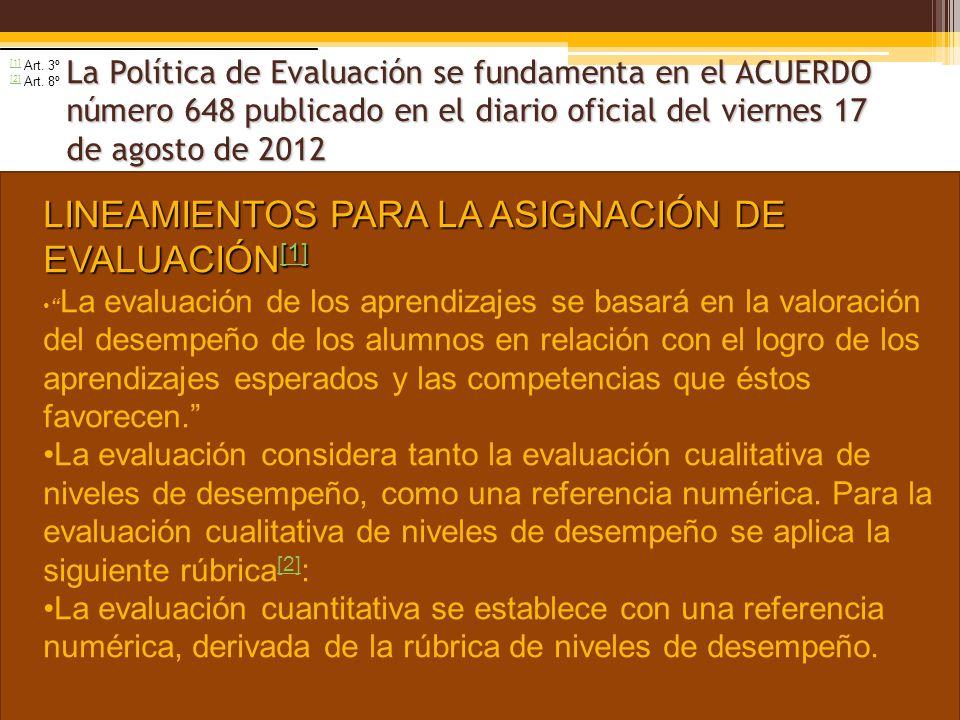 La Política de Evaluación se fundamenta en el ACUERDO número 648 publicado en el diario oficial del viernes 17 de agosto de 2012 LINEAMIENTOS PARA LA