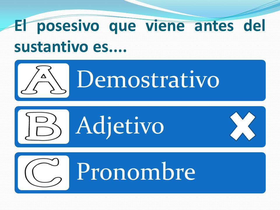 El posesivo que viene antes del sustantivo es.... Demostrativo Adjetivo Pronombre