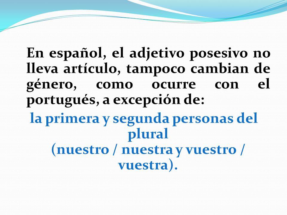 En español, el adjetivo posesivo no lleva artículo, tampoco cambian de género, como ocurre con el portugués, a excepción de: la primera y segunda pers