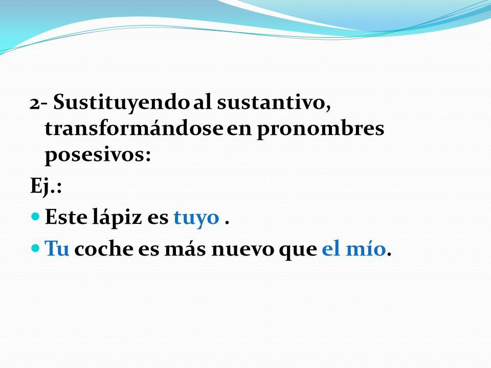 a) Los pronombres posesivos presentan el mismo género y número del sustantivo al que sustituyen, en el segundo ejemplo: tu coche = el mío b) Al igual que en portugués, pueden estar acompañados o no del artículo: ¿De quién es este cuaderno.