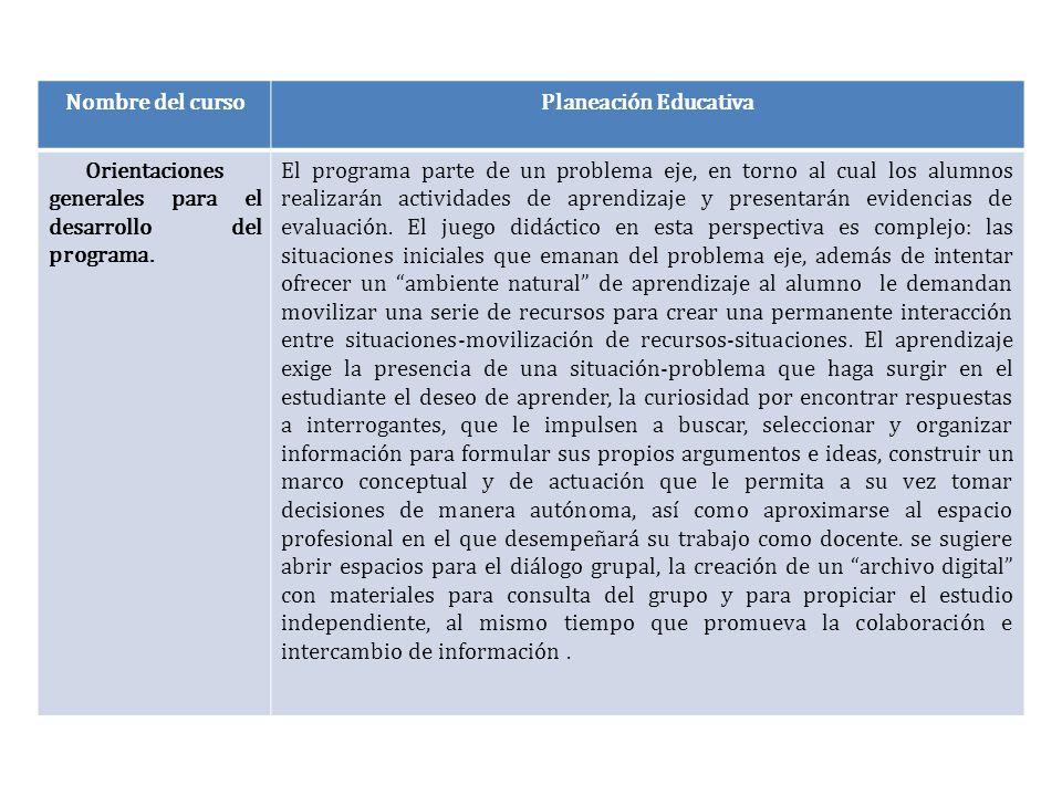 Nombre del cursoPlaneación Educativa Orientaciones generales para el desarrollo del programa. El programa parte de un problema eje, en torno al cual l