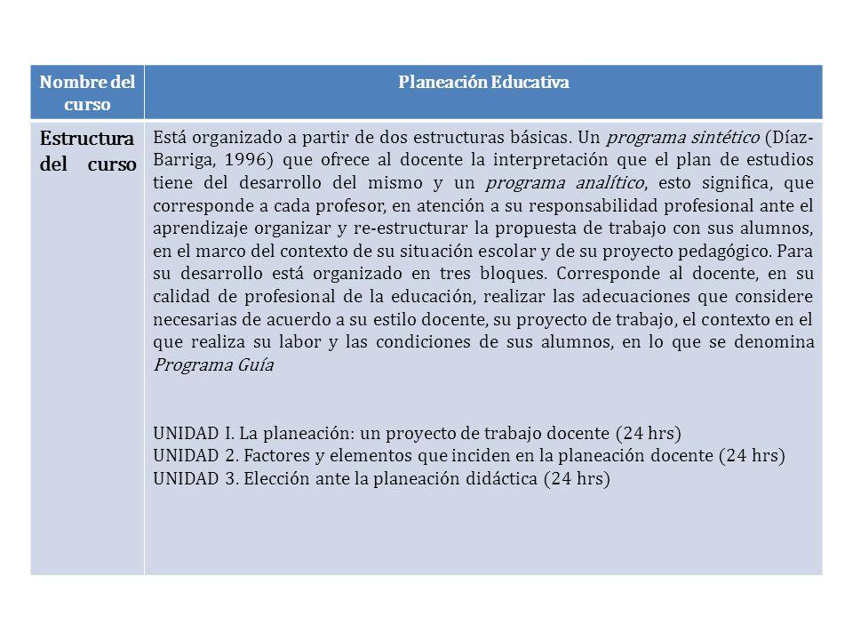 Nombre del curso Planeación Educativa Estructura del curso Está organizado a partir de dos estructuras básicas. Un programa sintético (Díaz- Barriga,