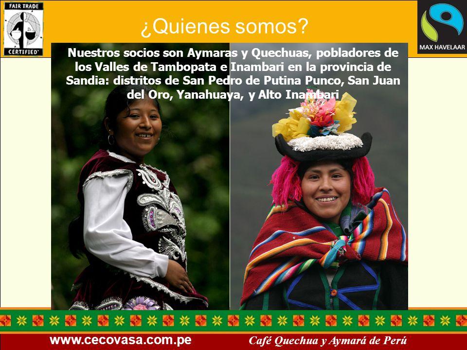 www.cecovasa.com.pe Café Quechua y Aymará de Perú Nuestros socios son Aymaras y Quechuas, pobladores de los Valles de Tambopata e Inambari en la provi