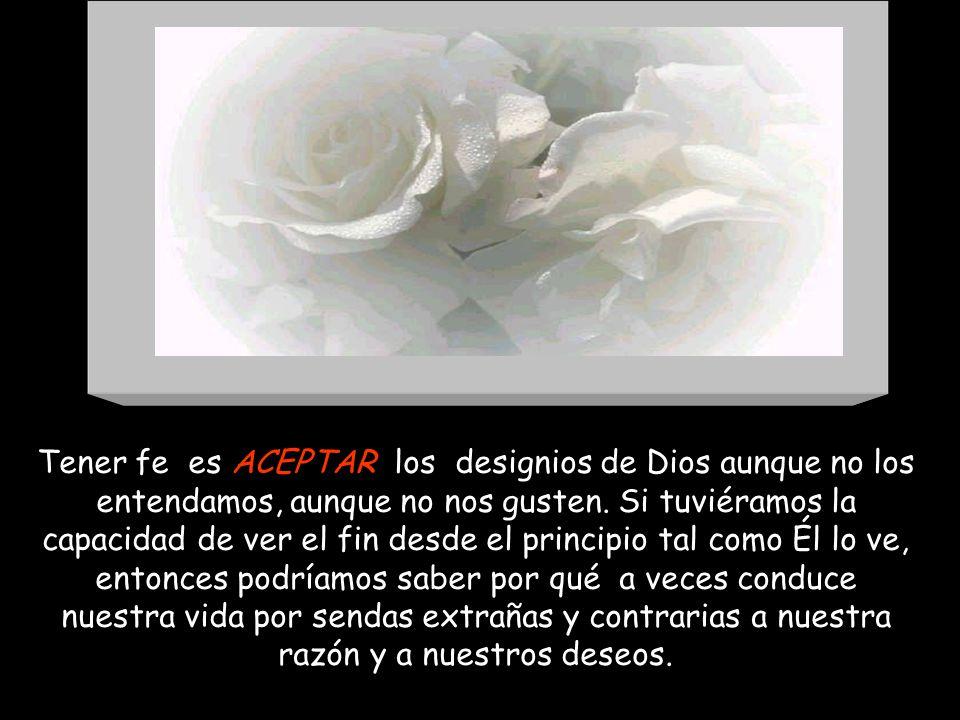 Tener fe es ACEPTAR los designios de Dios aunque no los entendamos, aunque no nos gusten.