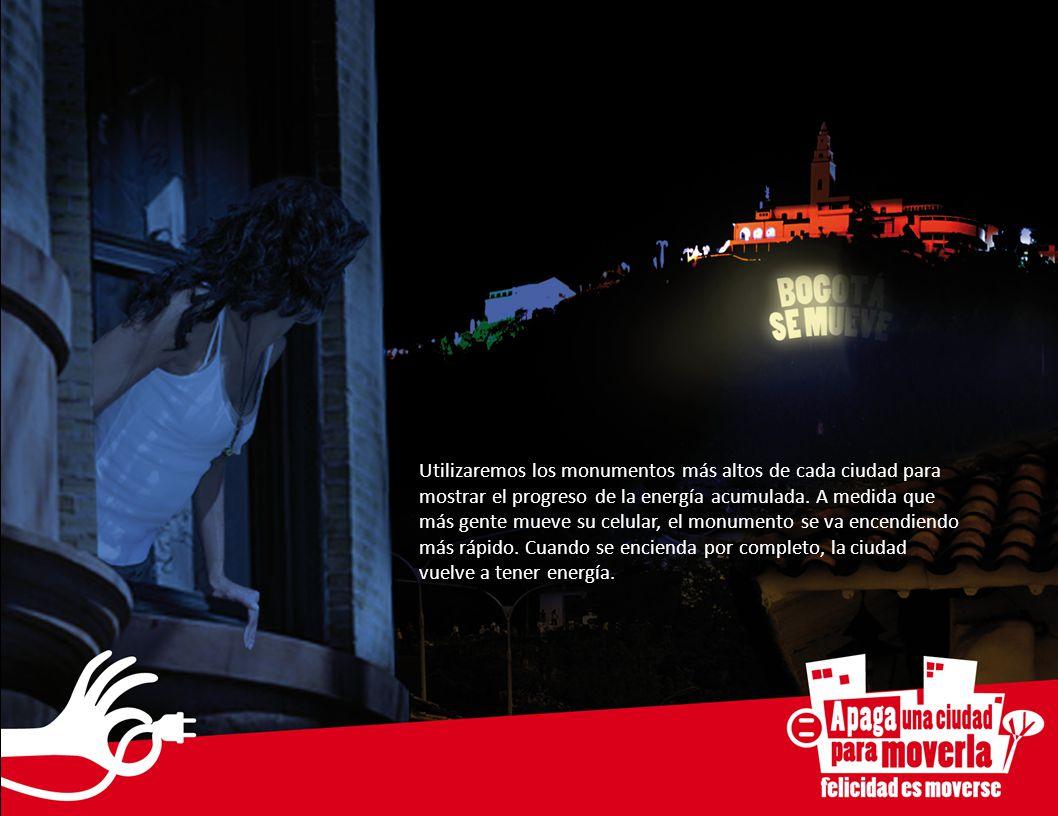 Utilizaremos los monumentos más altos de cada ciudad para mostrar el progreso de la energía acumulada. A medida que más gente mueve su celular, el mon