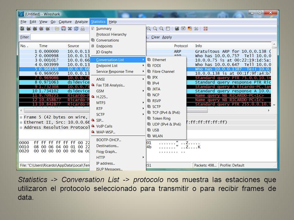 Statistics -> Conversation List -> protocolo nos muestra las estaciones que utilizaron el protocolo seleccionado para transmitir o para recibir frames