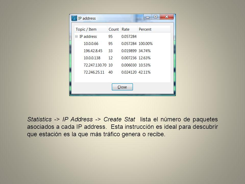 Statistics -> Packet Length -> Create Stat muestra la distibución que caracteriza el largo de los paquetes.