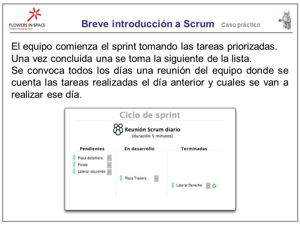 Breve introducción a Scrum Caso práctico El equipo comienza el sprint tomando las tareas priorizadas.