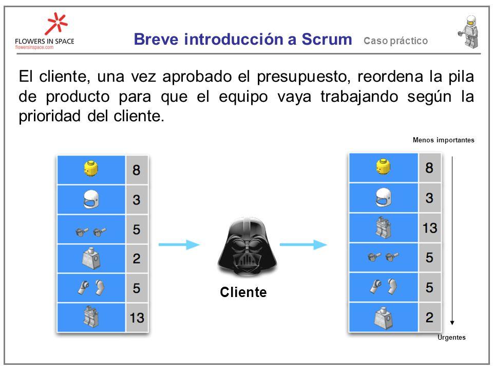 Breve introducción a Scrum Caso práctico El cliente, una vez aprobado el presupuesto, reordena la pila de producto para que el equipo vaya trabajando según la prioridad del cliente.
