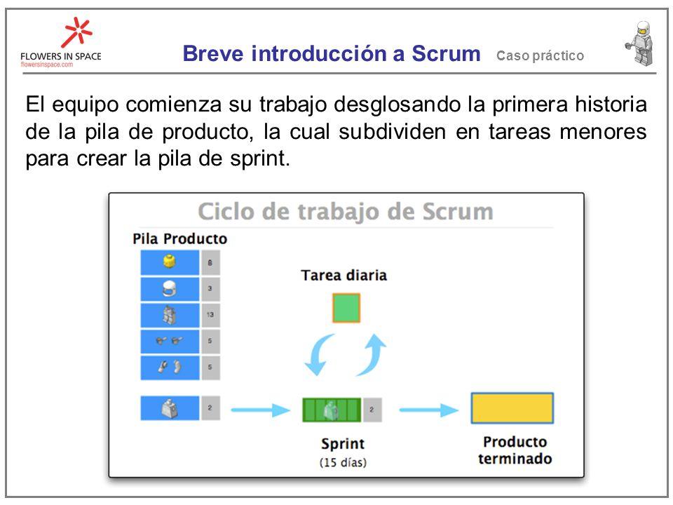 Breve introducción a Scrum Caso práctico La pila de sprint tiene como utilidad fraccionar el trabajo de un periodo de 15 días en tareas mas pequeñas, que tarden como mucho dos días.