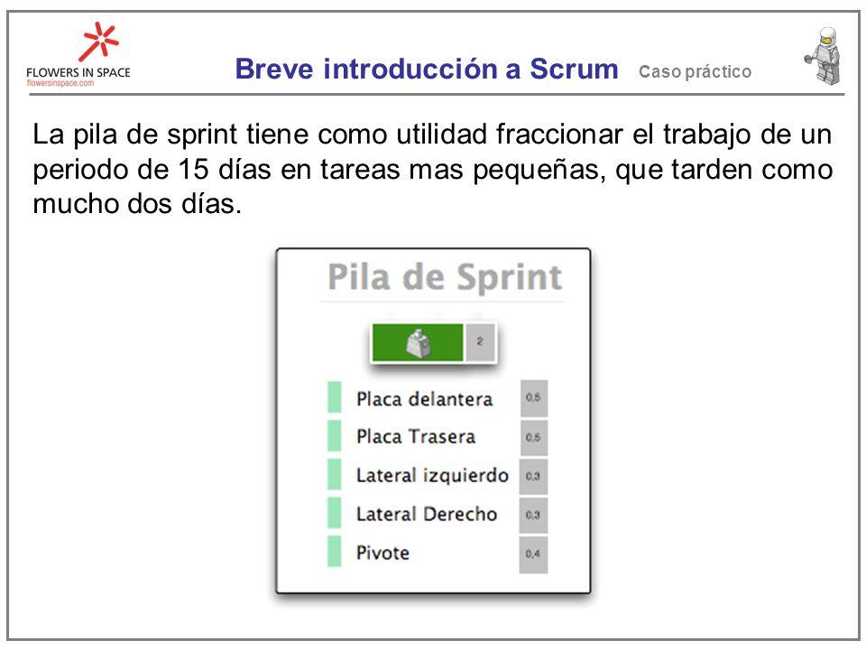 Breve introducción a Scrum Caso práctico Estas tareas se colocan en una pila, la cual prioriza el Dueño de Producto, que ha consultado con el cliente, antes de comenzar el sprint.