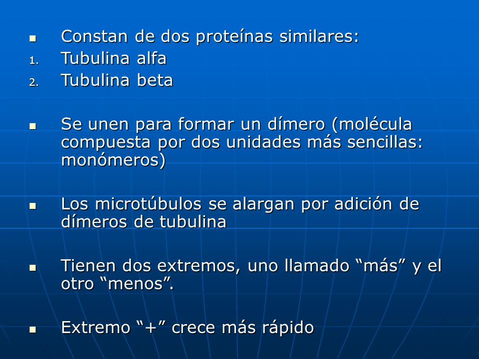 Constan de dos proteínas similares: Constan de dos proteínas similares: 1. Tubulina alfa 2. Tubulina beta Se unen para formar un dímero (molécula comp