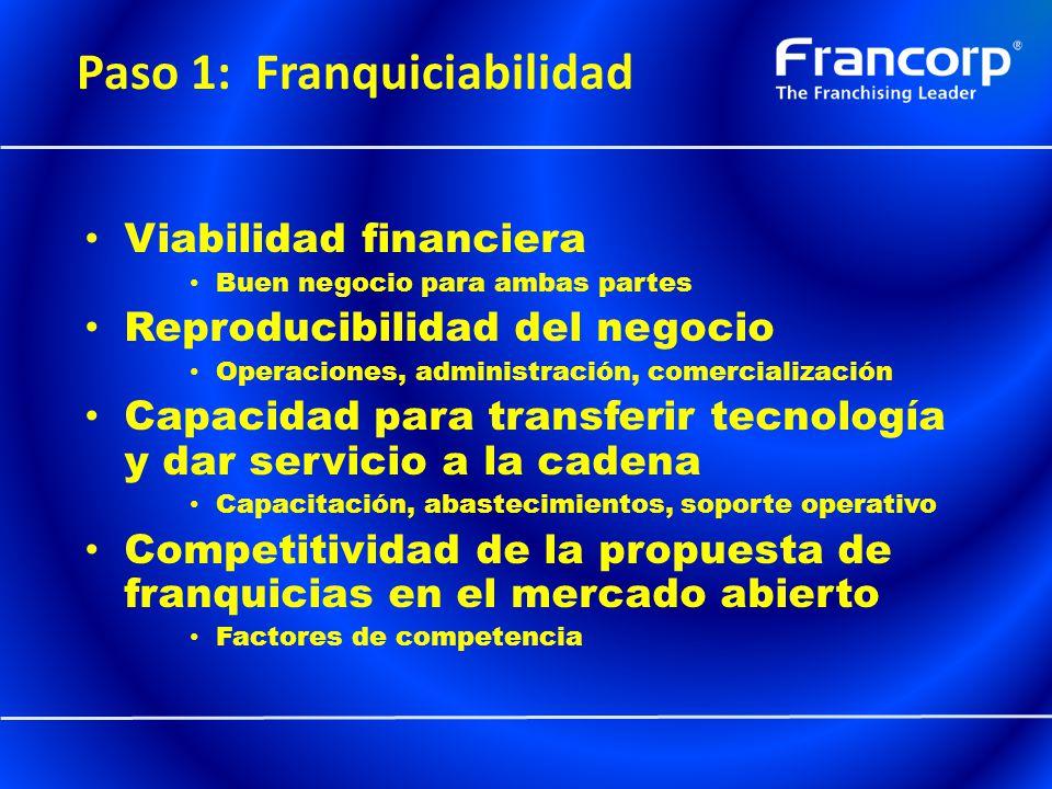 Paso 1: Franquiciabilidad Viabilidad financiera Buen negocio para ambas partes Reproducibilidad del negocio Operaciones, administración, comercializac