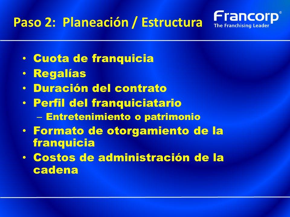 Paso 2: Planeación / Estructura Cuota de franquicia Regalías Duración del contrato Perfil del franquiciatario – Entretenimiento o patrimonio Formato d