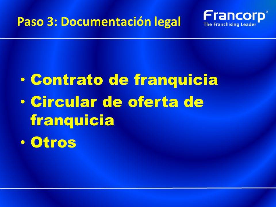 Paso 3: Documentación legal Contrato de franquicia Circular de oferta de franquicia Otros
