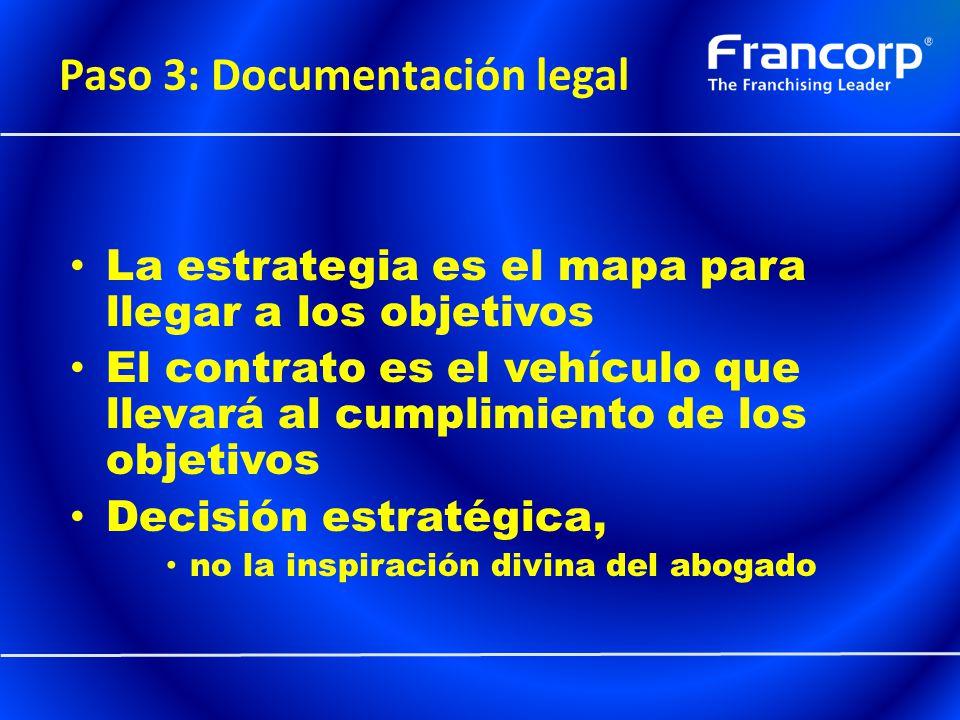 Paso 3: Documentación legal La estrategia es el mapa para llegar a los objetivos El contrato es el vehículo que llevará al cumplimiento de los objetiv