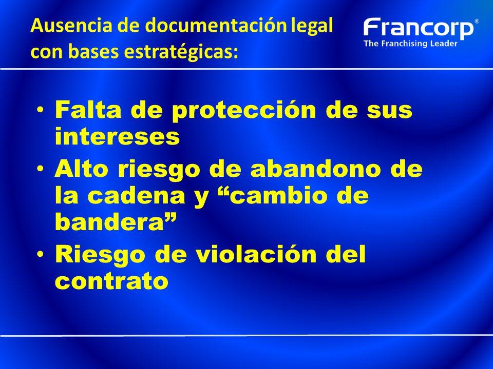 Ausencia de documentación legal con bases estratégicas: Falta de protección de sus intereses Alto riesgo de abandono de la cadena y cambio de bandera