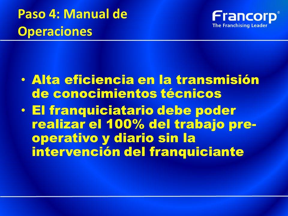 Paso 4: Manual de Operaciones Alta eficiencia en la transmisión de conocimientos técnicos El franquiciatario debe poder realizar el 100% del trabajo p