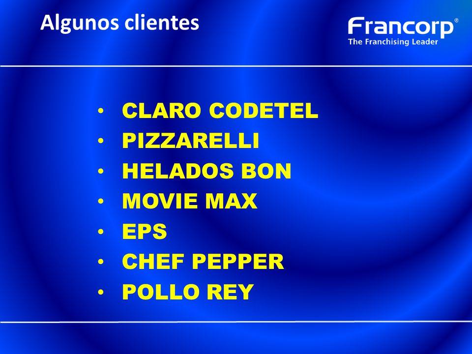 Algunos clientes CLARO CODETEL PIZZARELLI HELADOS BON MOVIE MAX EPS CHEF PEPPER POLLO REY