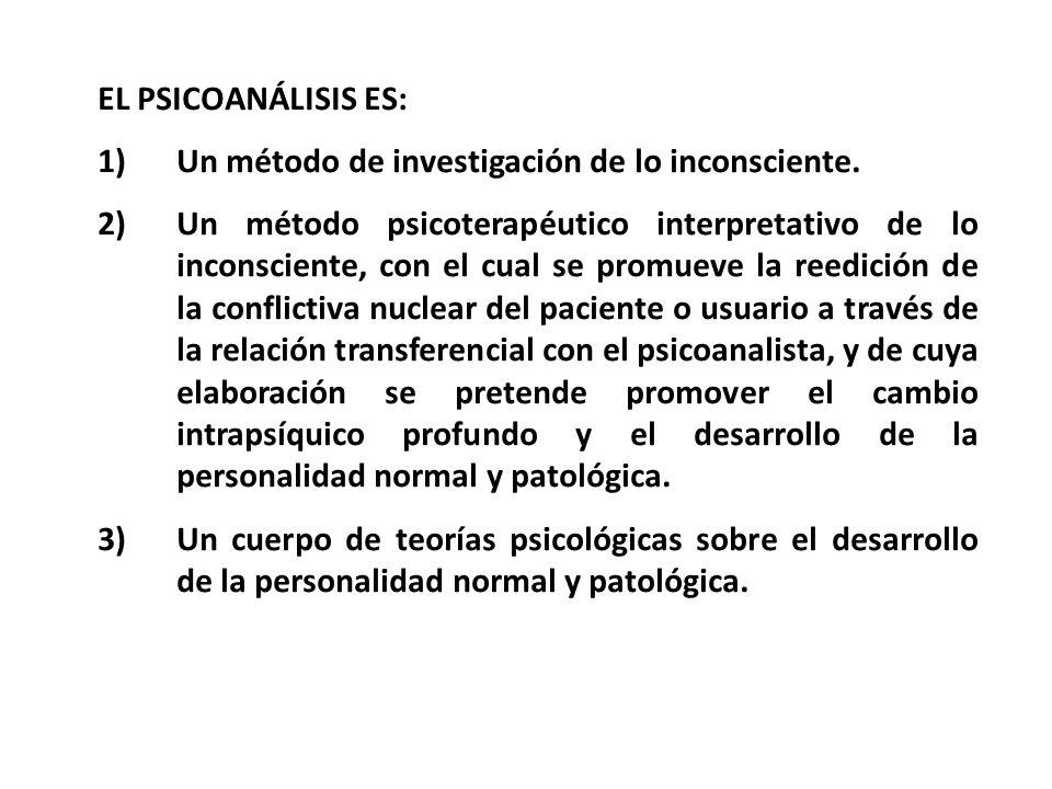 EL PSICOANÁLISIS ES: 1)Un método de investigación de lo inconsciente. 2)Un método psicoterapéutico interpretativo de lo inconsciente, con el cual se p