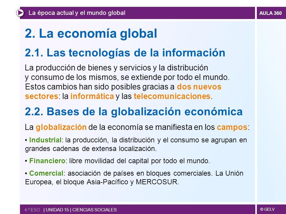 © GELV AULA 360 2. La economía global 2.1. Las tecnologías de la información La producción de bienes y servicios y la distribución y consumo de los mi