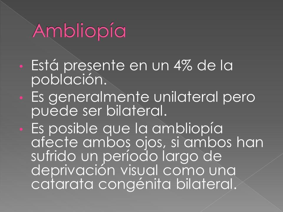 Está presente en un 4% de la población. Es generalmente unilateral pero puede ser bilateral. Es posible que la ambliopía afecte ambos ojos, si ambos h