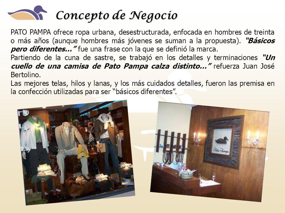Concepto de Negocio PATO PAMPA ofrece ropa urbana, desestructurada, enfocada en hombres de treinta o más años (aunque hombres más jóvenes se suman a la propuesta).