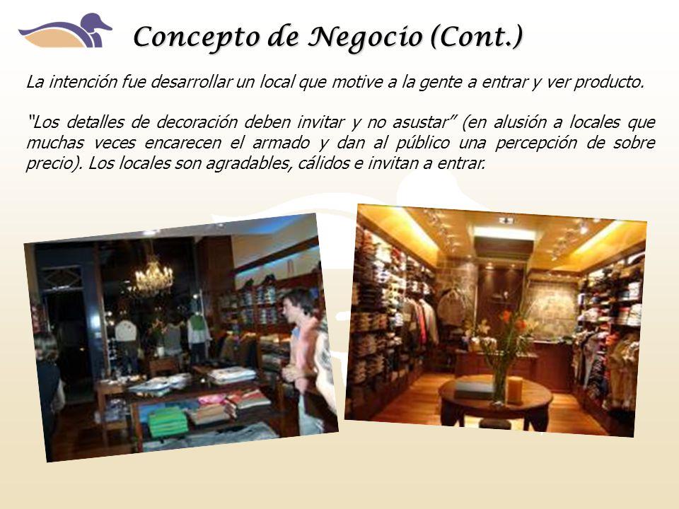 Concepto de Negocio (Cont.) La intención fue desarrollar un local que motive a la gente a entrar y ver producto. Los detalles de decoración deben invi
