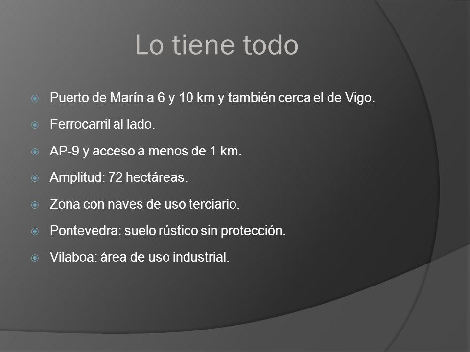 Lo tiene todo Puerto de Marín a 6 y 10 km y también cerca el de Vigo. Ferrocarril al lado. AP-9 y acceso a menos de 1 km. Amplitud: 72 hectáreas. Zona
