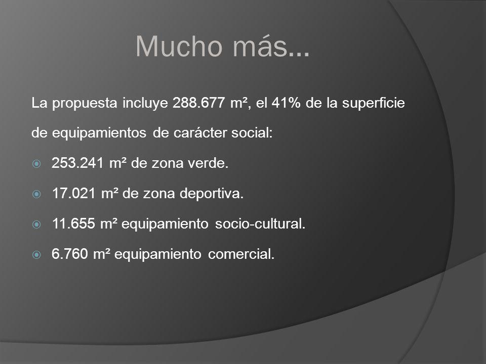 Mucho más… La propuesta incluye 288.677 m², el 41% de la superficie de equipamientos de carácter social: 253.241 m² de zona verde. 17.021 m² de zona d